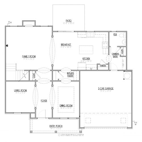 Bedford A&C 2 Story House Plans - 1st Floor