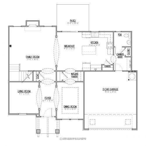Bedford Craftsman 2 Story House Plans - 1st Floor