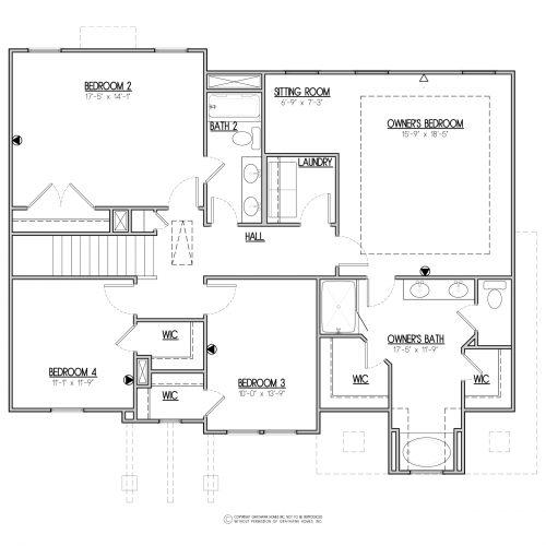 Bedford Craftsman 2 Story House Plans - 2nd Floor