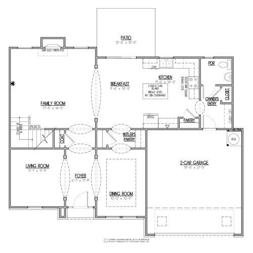 Bedford Euro 2 Story House Plans - 1st Floor