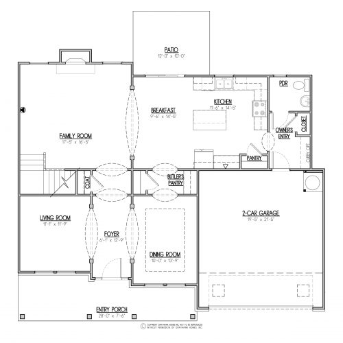 Bedford Traditional 2 Story House Plans - 1st Floor