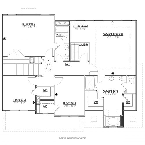 Bedford Traditional 2 Story House Plans - 2nd Floor
