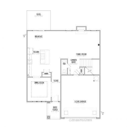Longleaf Euro 2 Story House Plans - 1st Floor