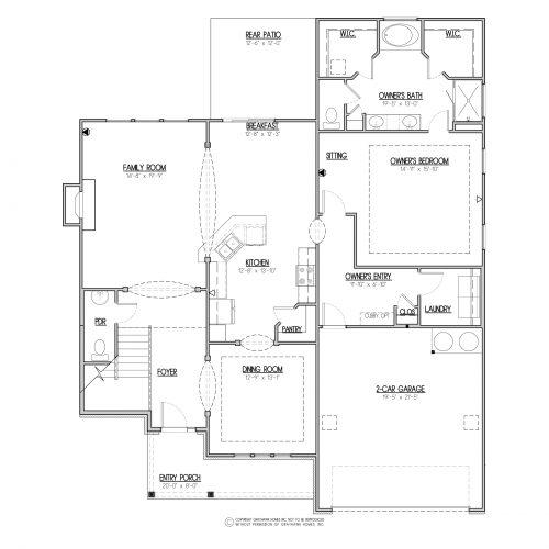 Chestnut Traditional House Plan - 1st Floor